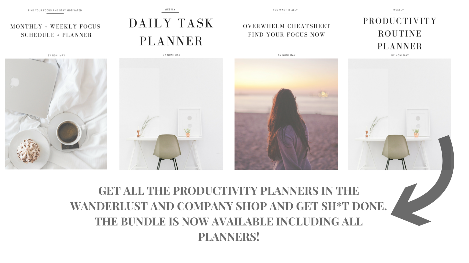 Productivity planners by Noni May for Wanderlust and Company.