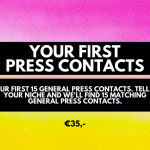 Your first 15 general press contacts. Micro investment, cheap services for bloggers and business owners.