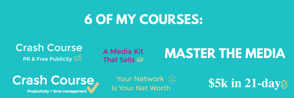 The Profitable Teacher Course (valued at $348) DIY Video Production by Caleb Wojcik (valued at $119) Find Your Niche by Mariah Coz (valued at $97) 30 Day Launch Mini Course by Mariah Coz (valued at $197) 30 Days to Better Writing by Sean McCabe (valued at $99) The Funnel Formula by Melyssa Griffin (valued at $197) Power Networking System by John Corcoran (valued at $99) 2016 Teachable Summit Workshop Replays (valued at $199) A full year of Teachable's premium software 7 premium courses to help you create, sell and launch your course 5 of my courses