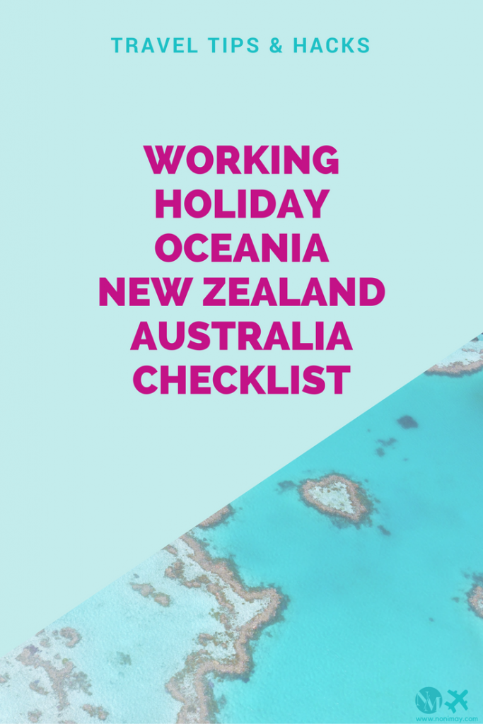 Working Holiday Oceania New Zealand, Australia checklist