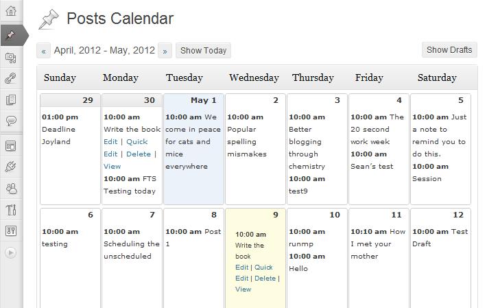 Wordpress Editorial Calendar plugin to schedule posts in wordress
