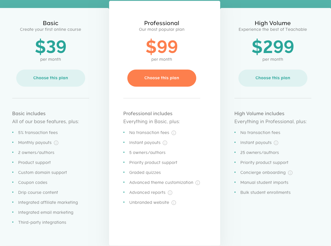 Teachable pricing and how to use Teachable for free instead of paying for a paid plan