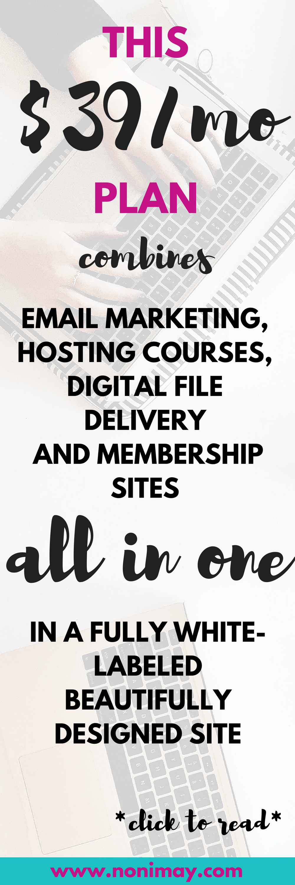 This $39 a month plan combines email marketing, hosting courses, digital file delivery and membership sites all in one in a fully white labeled beautifully designed site
