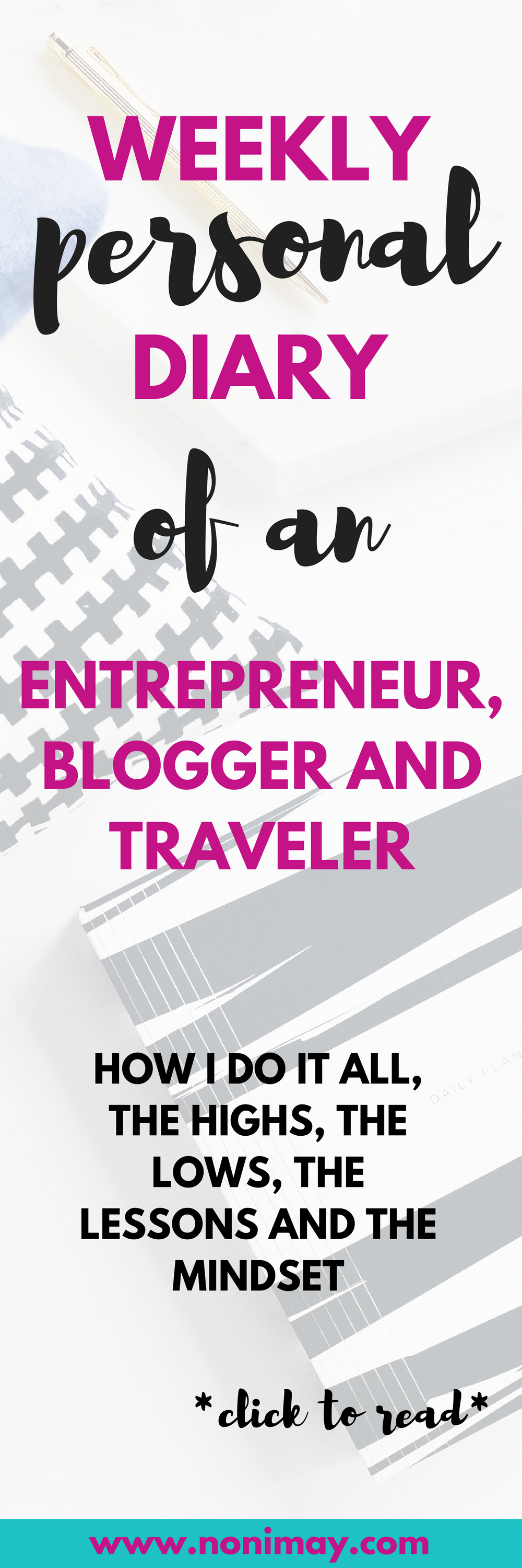 Weekly personal diary of an entrepreneur, blogger and traveler. The highs, the lows, the lessons and the mindset